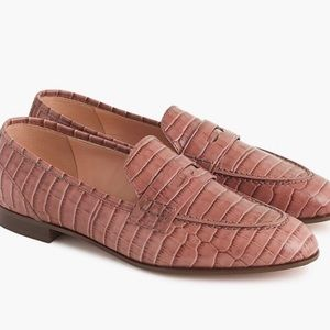 J.crew academy croc embossed leather loafers Sz9.5